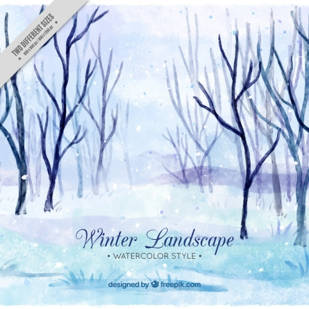 Watercolor winter landscape with trees without\ leaves