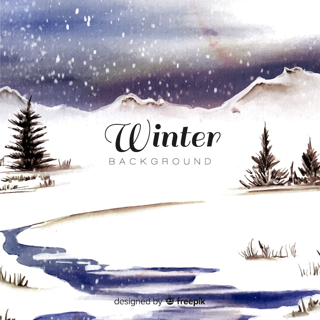 Watercolor winter landscape Free Vector