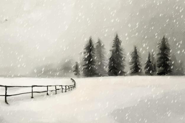 Paesaggio invernale dell'acquerello Vettore gratuito