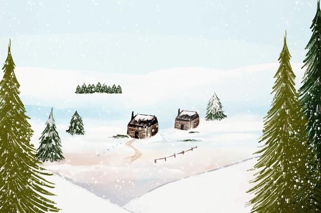 水彩の冬の風景 Premiumベクター
