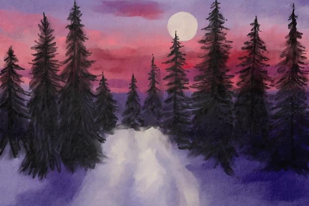 水彩の冬の風景 無料ベクター