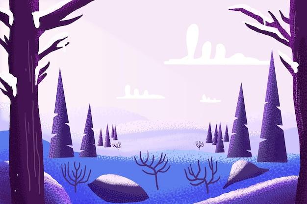 Акварельный зимний пейзаж Бесплатные векторы