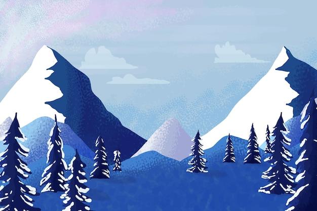 水彩の冬の山の風景 Premiumベクター