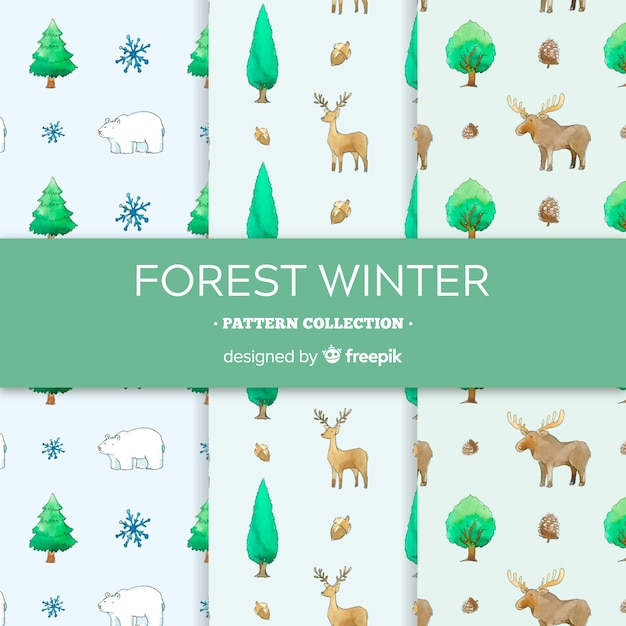 Watercolor winter pattern collection Free Vector