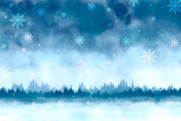 Watercolor winter scenery background Premium Vector