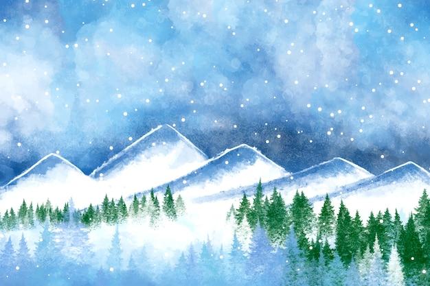 Watercolor Winter Scenery Wallpaper Vector Free Download
