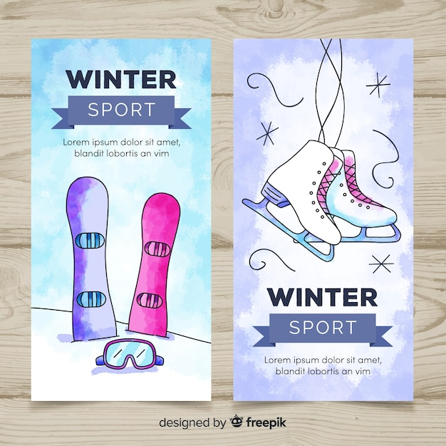 Watercolor winter sport banner template Free Vector