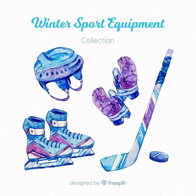 Watercolor winter sport equipment Free Vector