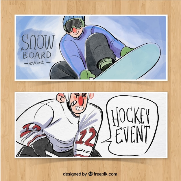 Watercolor winter sports banners