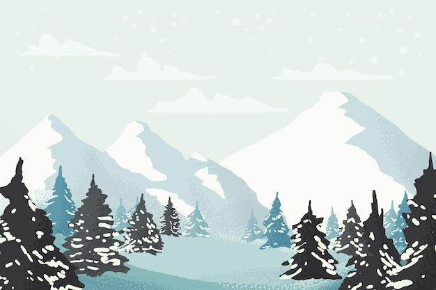 Акварель зимний чудесный пейзаж Бесплатные векторы