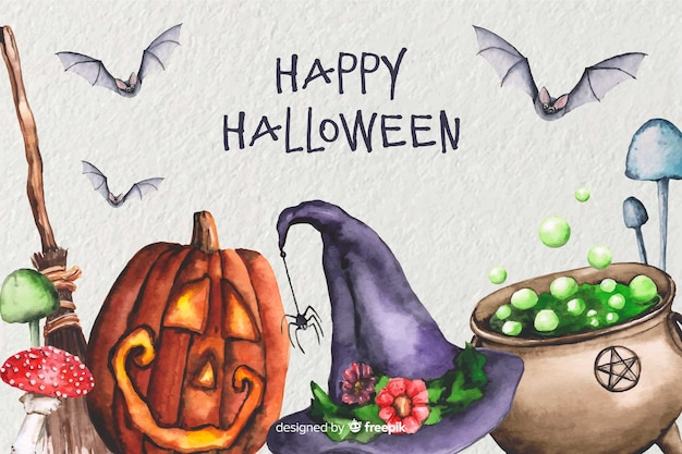 Watercolor witchcraft halloween background Free Vector