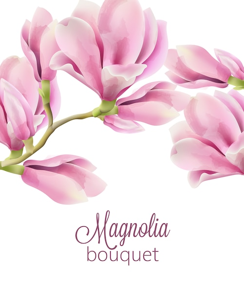 Watercolor with spring bouquet of magnolia flowers Free Vector
