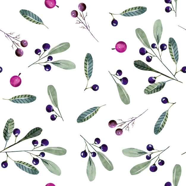 Watercolor wolf berries seamless pattern Premium Vector