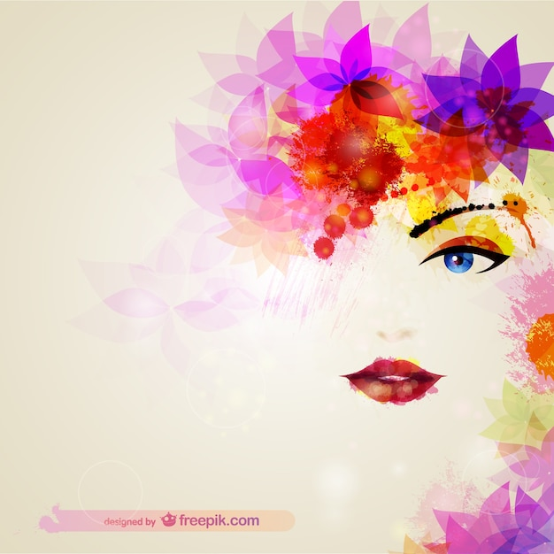 Watercolor woman face with flowers in the hair Free Vector