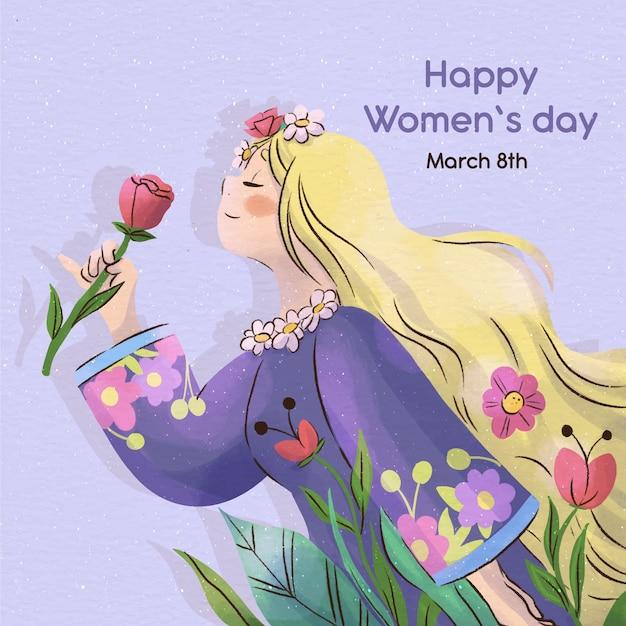 Donna dell'acquerello che sente l'odore di un fiore Vettore gratuito