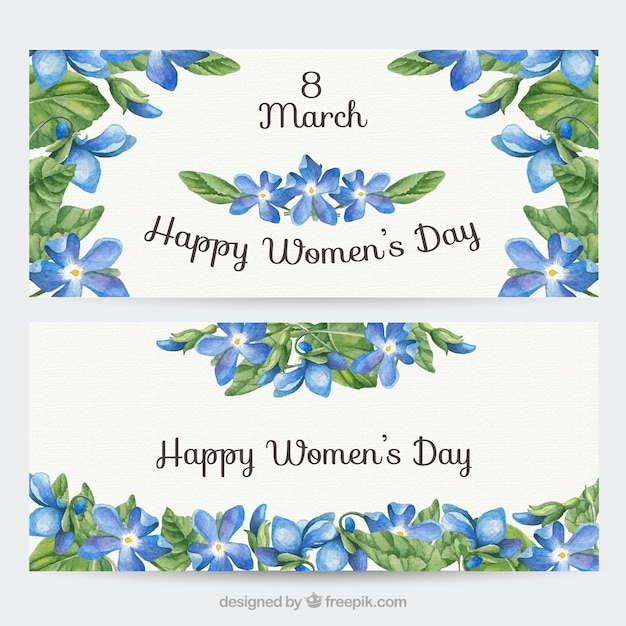 Watercolor Women Day Floral Banners