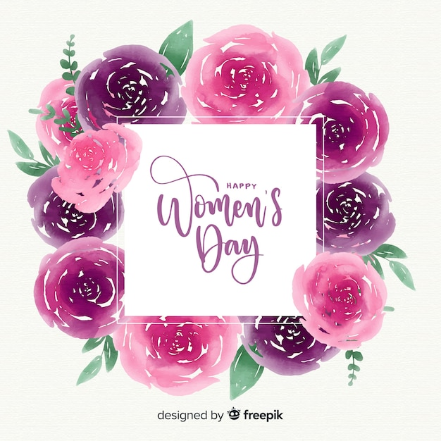 Watercolor women's day background Free Vector