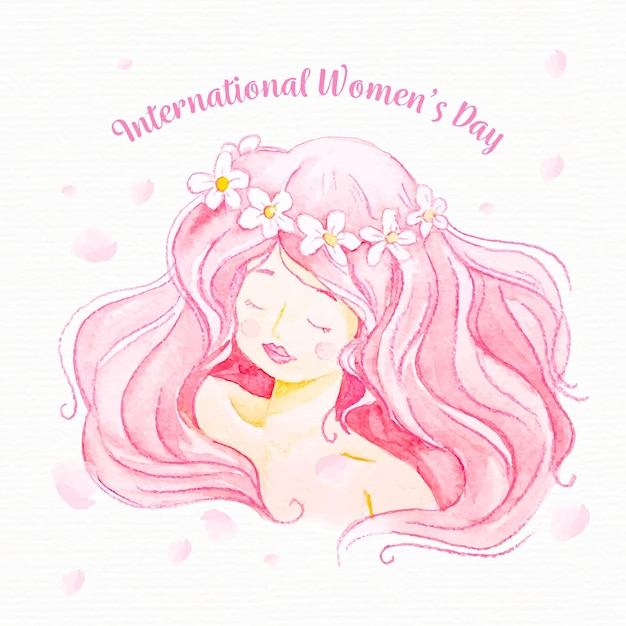 Watercolor women's day pink hair Free Vector