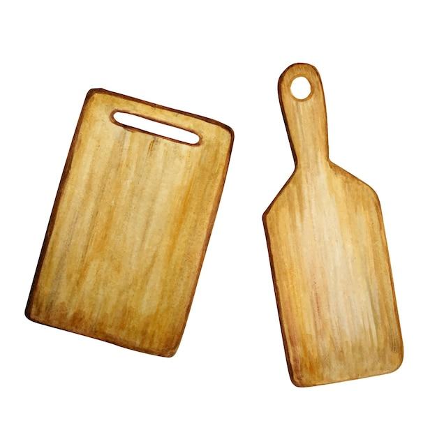 水彩木製まな板セット。 Premiumベクター