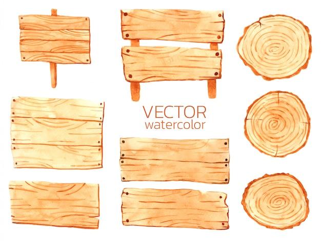 Watercolor wooden tablets vector wooden for design Premium Vector