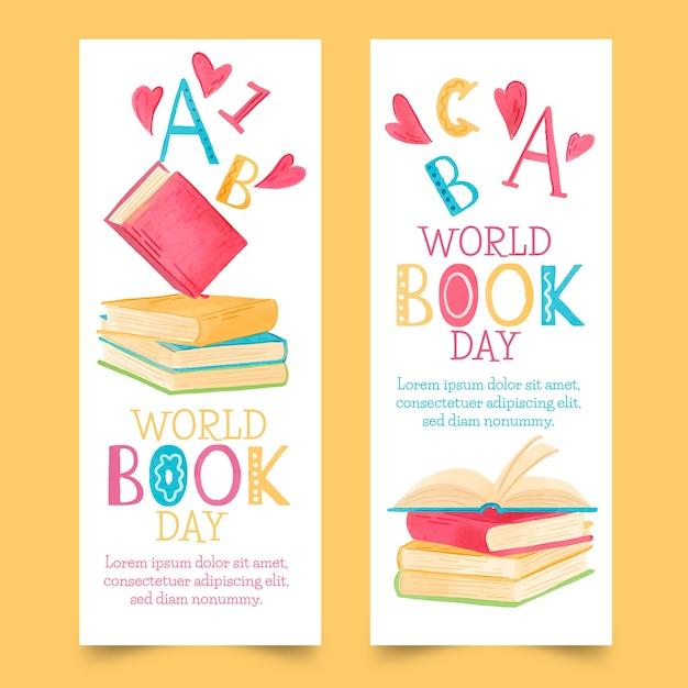 Raccolta dell'insegna di giorno del libro di mondo dell'acquerello Vettore gratuito