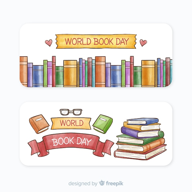 Watercolor world book day banners Free Vector