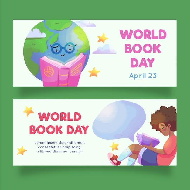 Bandiere di giorno del libro del mondo dell'acquerello Vettore gratuito