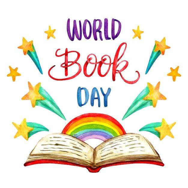 Concetto di giornata mondiale del libro dell'acquerello Vettore gratuito