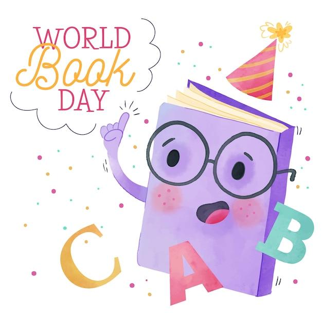 Giornata mondiale del libro dell'acquerello Vettore gratuito
