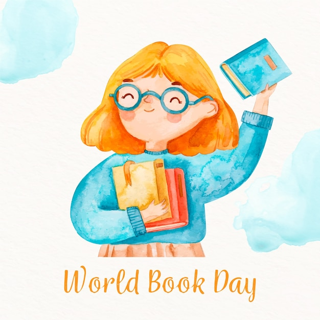 Watercolor world book day Free Vector