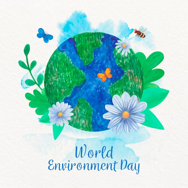 Watercolor world environment day with globe Free Vector
