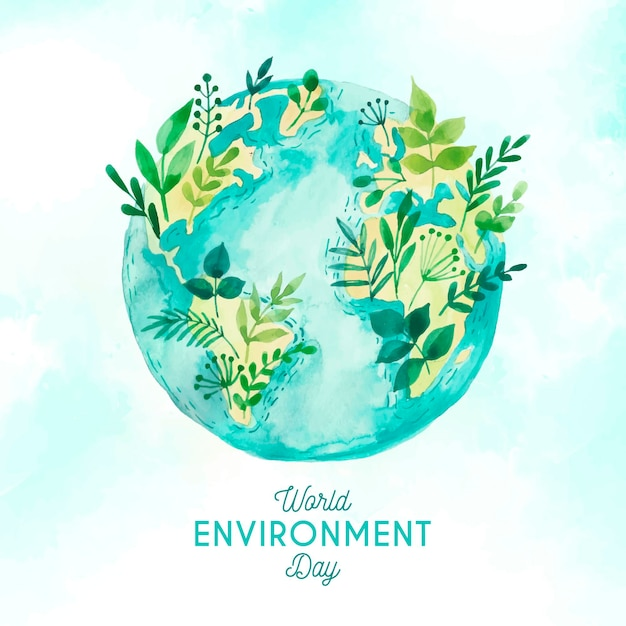 Watercolor world environment day with nature Free Vector