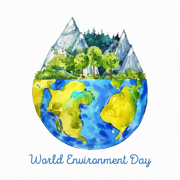 Watercolor world environment day Free Vector