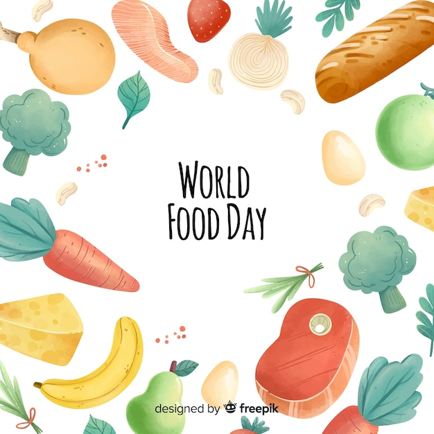 Watercolor world food day frame Free Vector