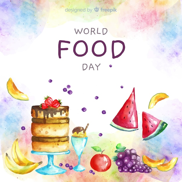 Watercolor world food day with cake Free Vector