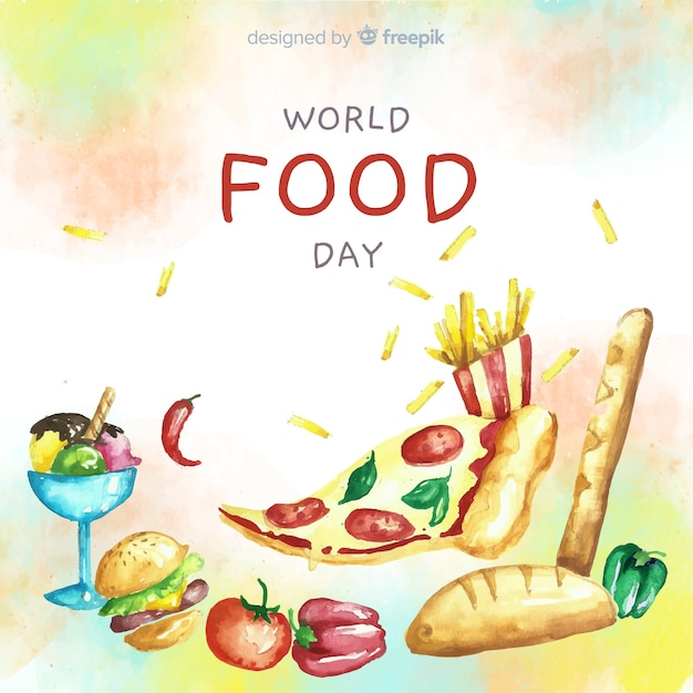 Watercolor world food day with pizza slice Free Vector