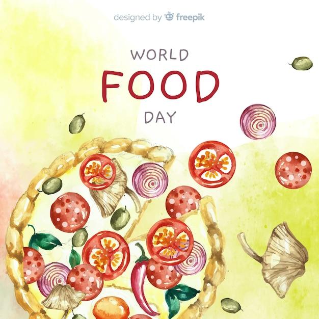 Акварельный всемирный день еды с пиццей Бесплатные векторы