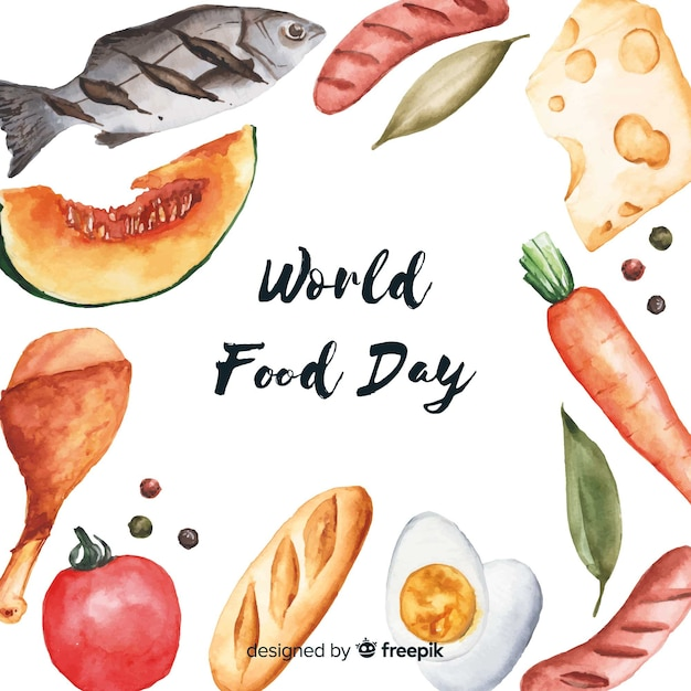 Watercolor world food day Free Vector