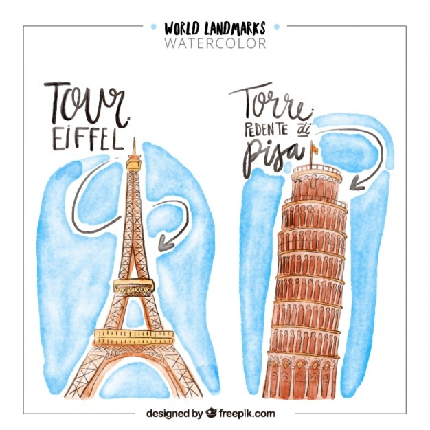 Watercolor world landmarks of france and italy Free Vector