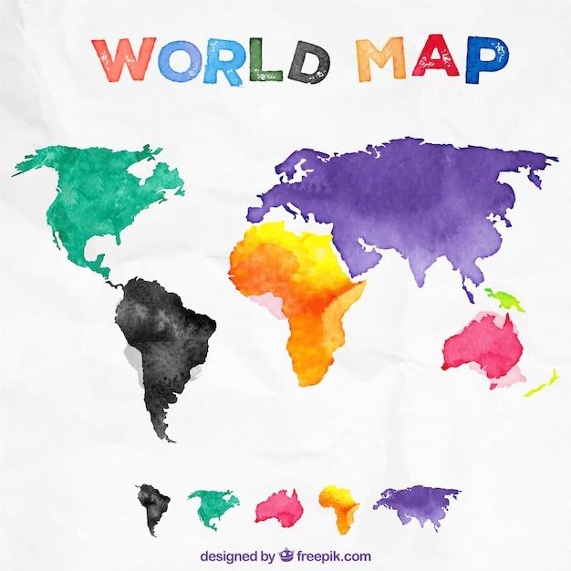 Watercolor world map vector premium download watercolor world map premium vector gumiabroncs Images