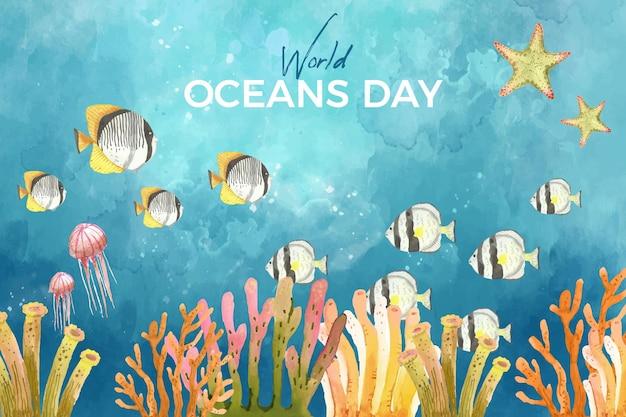 Watercolor world oceans day background Free Vector