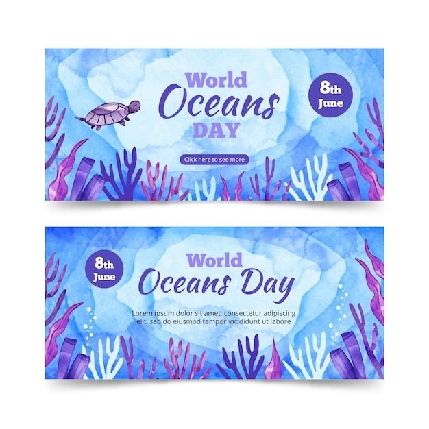 Watercolor world oceans day banner template Free Vector