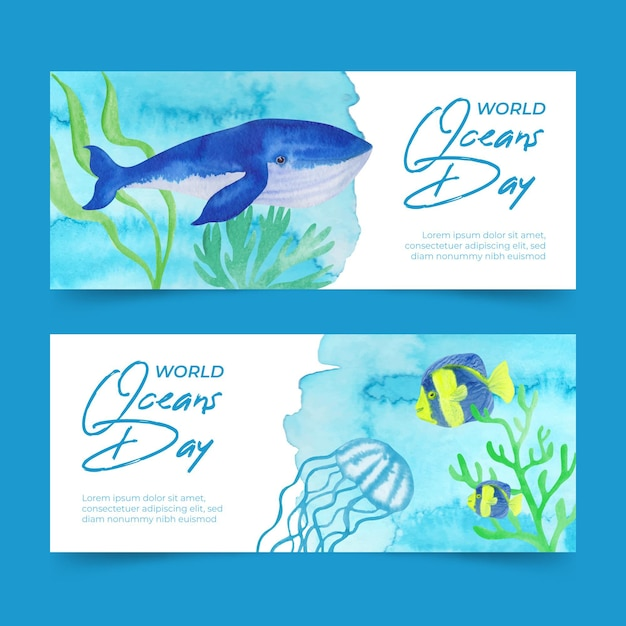 Watercolor world oceans day banner Free Vector