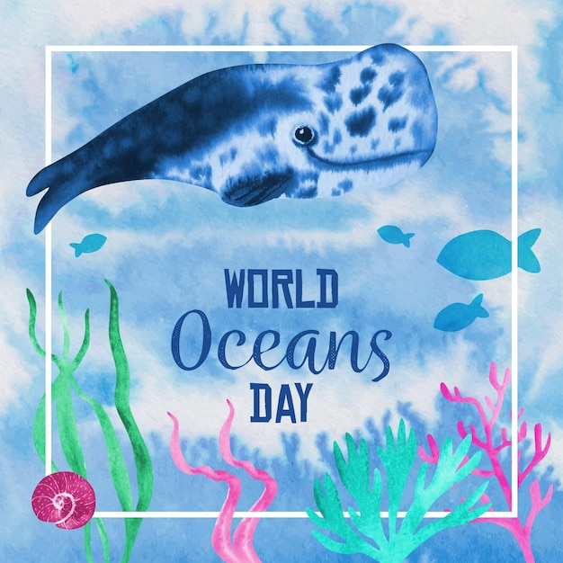 Watercolor world oceans day concept Free Vector