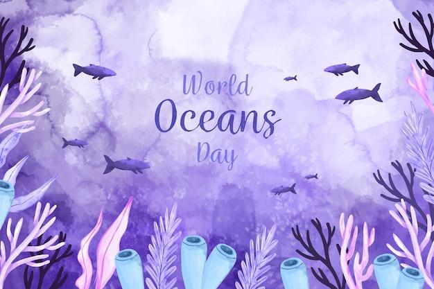 水彩世界海の日のコンセプト Premiumベクター