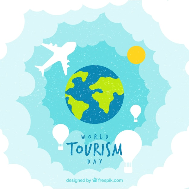 Watercolor world tourism day background Free Vector