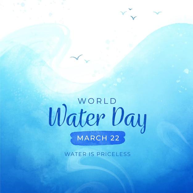 Акварель всемирный день воды иллюстрация Бесплатные векторы