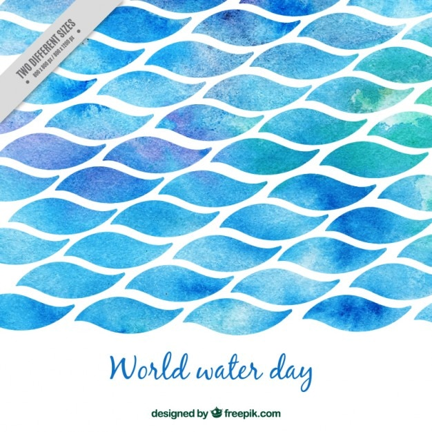 Watercolor World water day sea  Free Vector