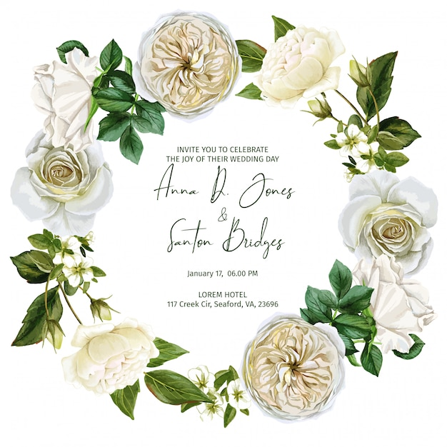 Watercolor wreath frame composed of white roses and leaves Premium Vector