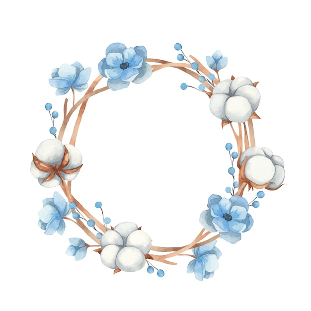 목화 꽃, 나뭇 가지와 푸른 아네모네 꽃의 수채화 화환. 벡터 일러스트 레이 션 프리미엄 벡터